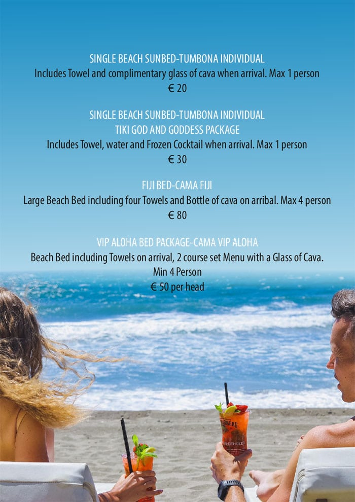 Mahiki Beach - Marbella Sun Lounger Prices
